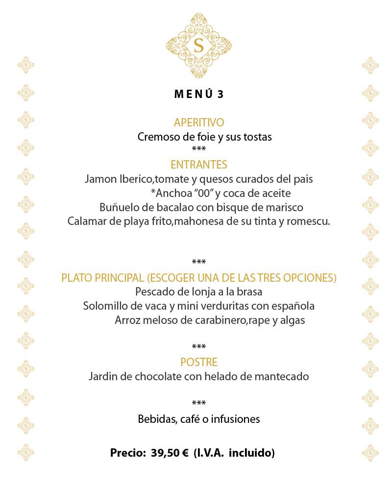 Restaurante Sensum, menu para empresas y particulares